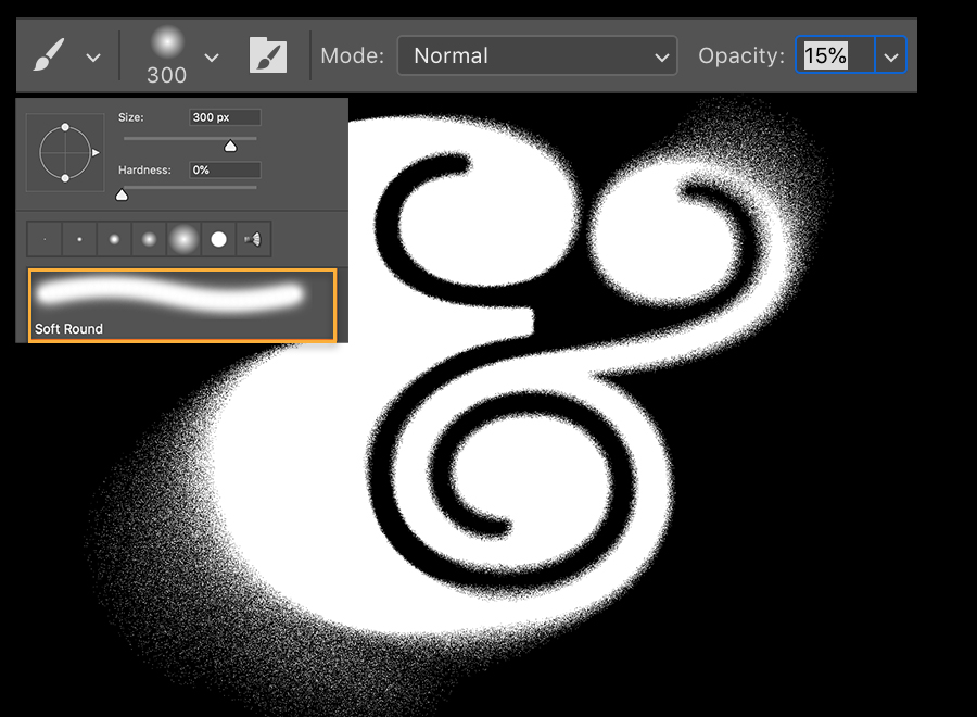 Brush options panel appears over the white ampersand with the soft round brush selected and set to size 300 and opacity 15%