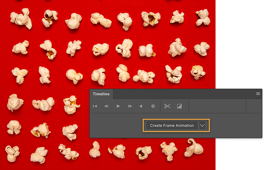 All popcorn kernels are popped. Adobe Photoshop Timeline shows Create Frame Animation option highlighted in orange