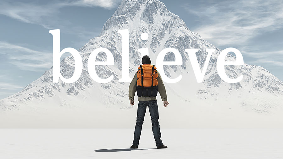 "A hiker stands in front of a snowy mountain with the word ""believe"" layered over the photo"