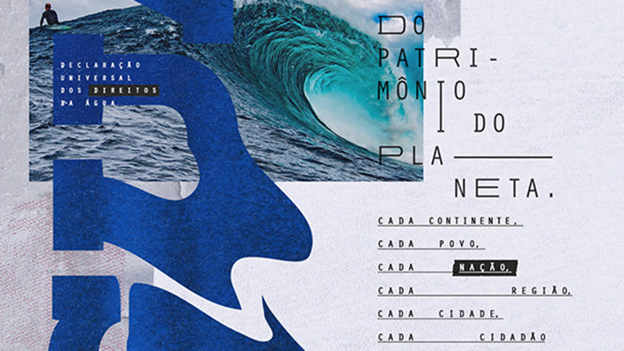 A collaged image that includes a surfer, some large blue wavy letters with white text overlaid, and some text in black on a gray background
