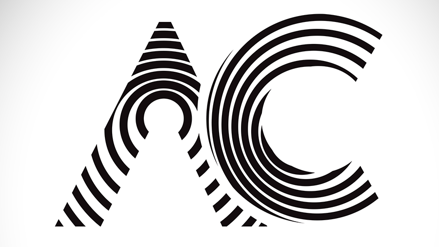A and C letters in a graphic black and white style of contrasting lines
