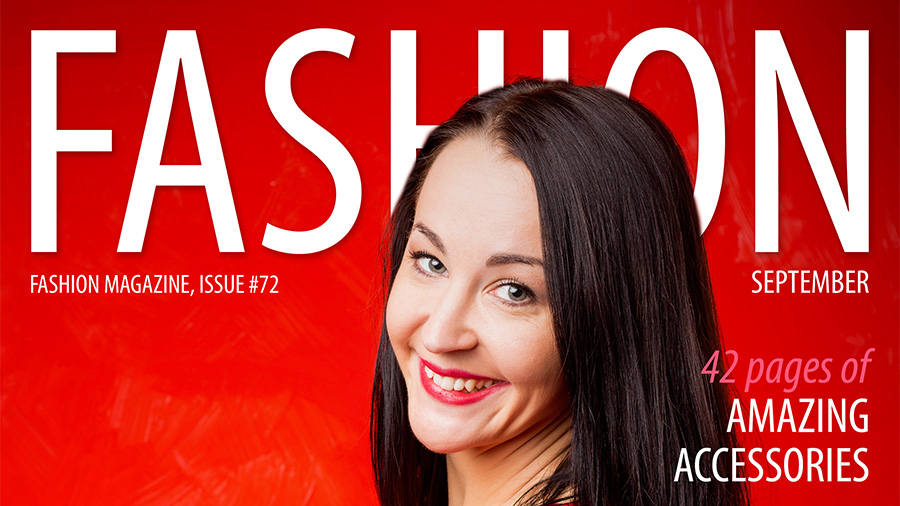 Top part of a magazine called FASHION with a woman's face on a red background