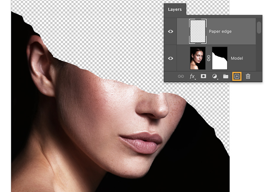 Bottom of model's face is visible, Layers panel shows orange callout around New Layer icon