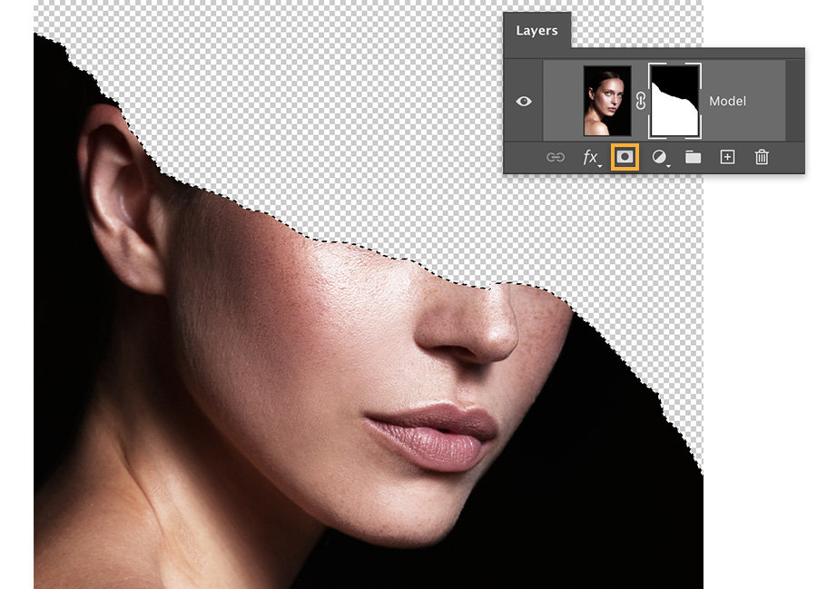 Bottom of model's face is visible, area above the jagged line is hidden, Layers panel shows a callout around the mask icon