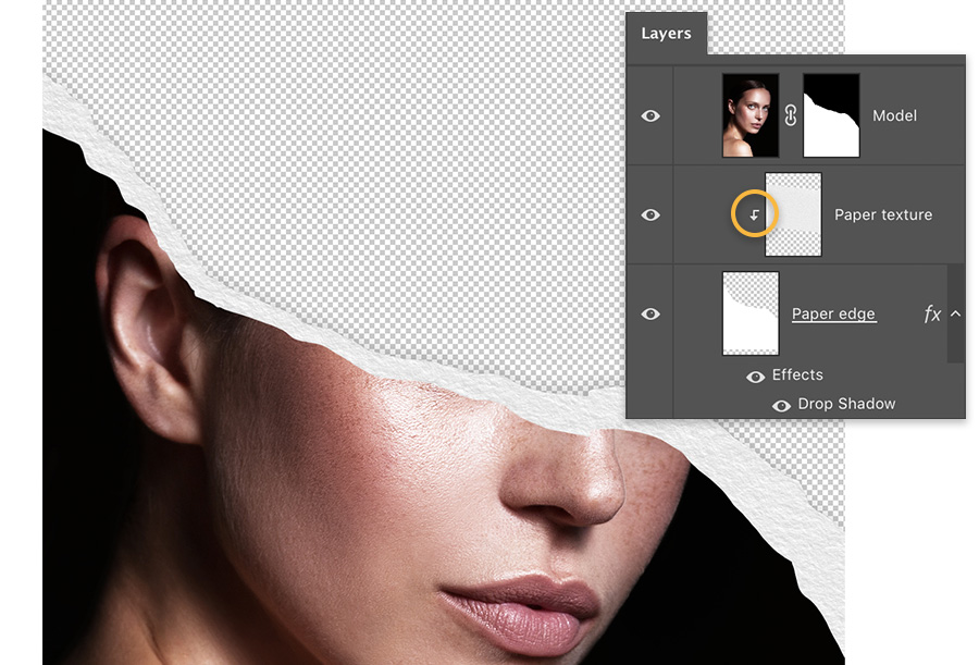 The Layers panel shows 3 layers – model with ripped paper mask, Paper texture is a clipping mask on paper edge
