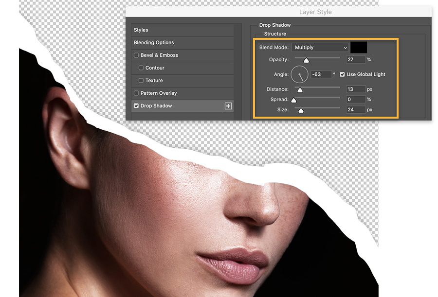 Layer Style dialog displays over the ripped edge portrait and shows the Drop Shadow setting checked and settings highlighted