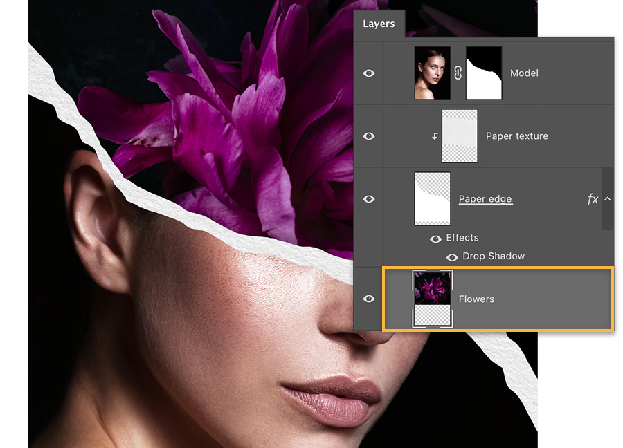 The Layers panel shows 4 layers – additional flowers layer has been added