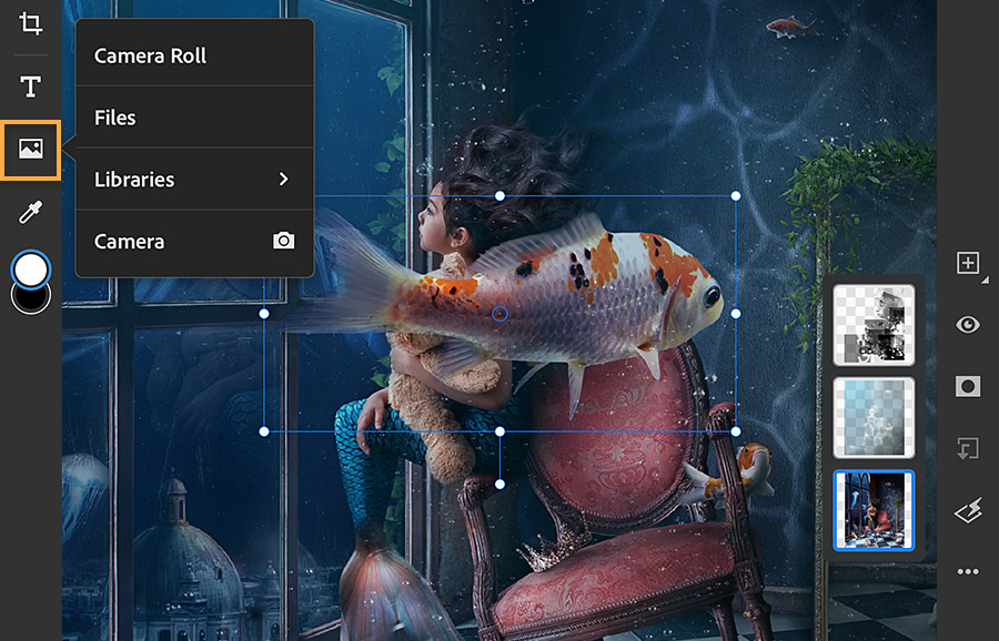 Photoshop iPad UI shows image icon selected, transform boundaries around fish photo in the middle, and layers on the right.