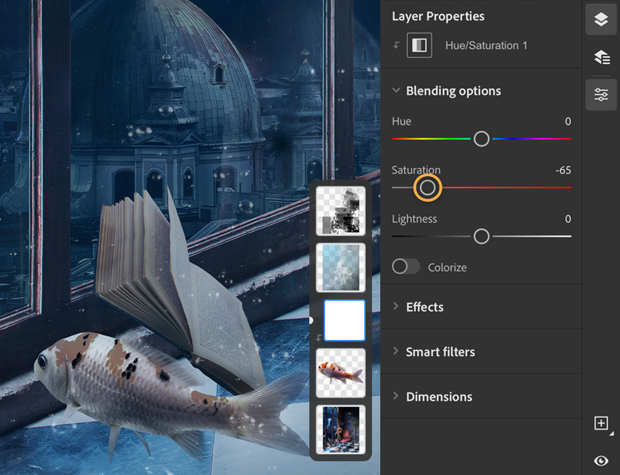 Photoshop layer properties show Saturation set to -65, the color of the fish on the left is desaturated.