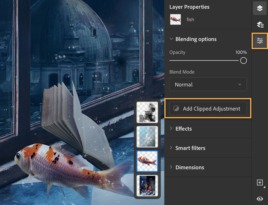 Photoshop layers panel shows on right with Add Clipped Adjustment selected for fish image layer.