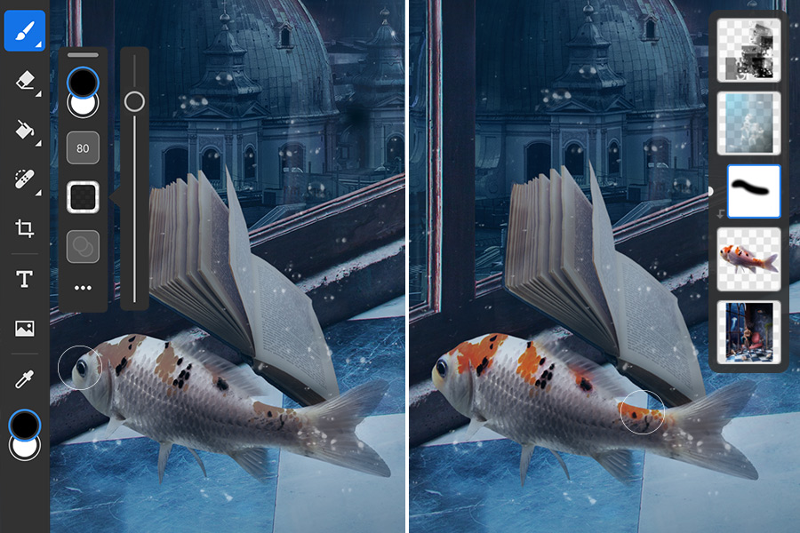Desaturated fish on the left, brush tool selected and set to black, fish on the right shows color added back to spots.
