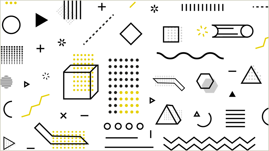 Many yellow and black graphic designs on a white background