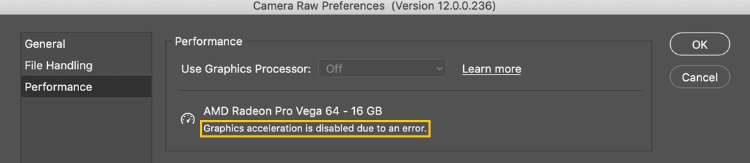 Error message below the Use Graphics Processor option