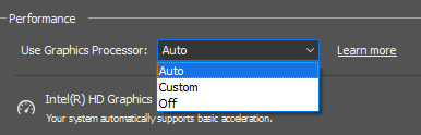 Use Graphics Processor setting options