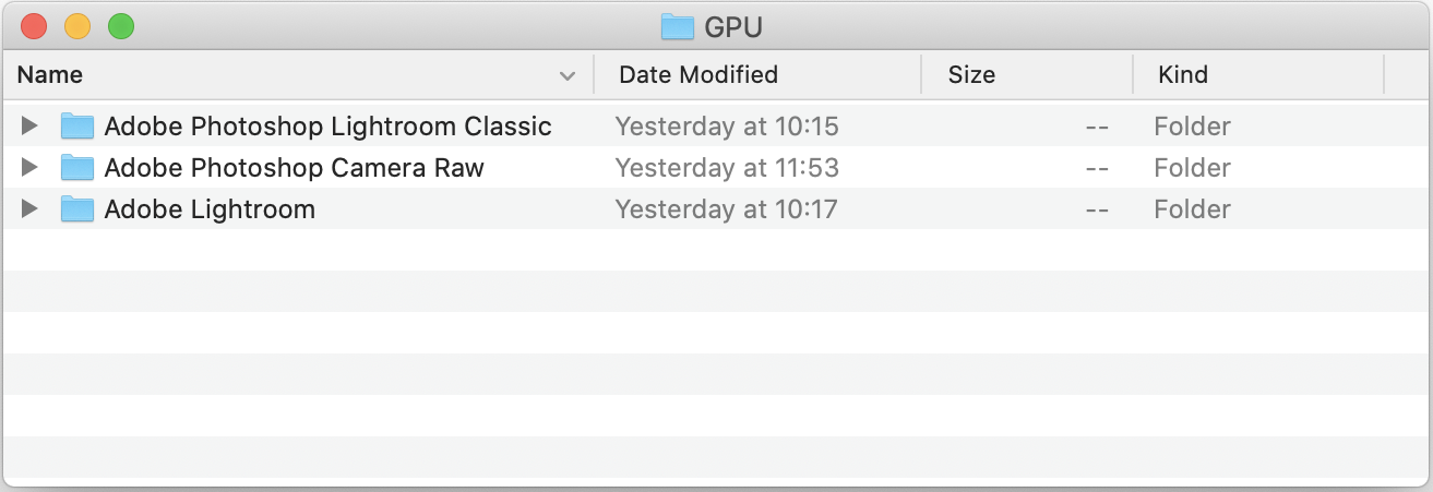 Each application you use with GPU acceleration has its own folder.