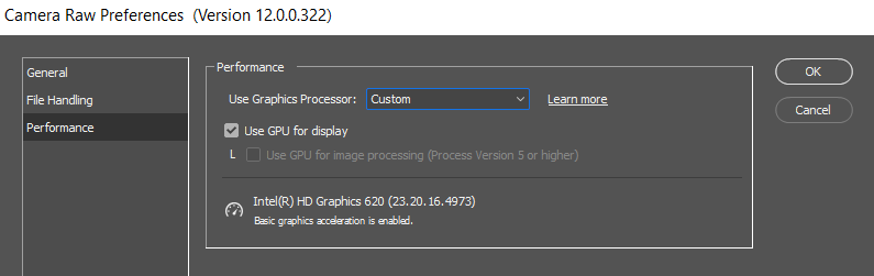 Preferences with GPU acceleration only