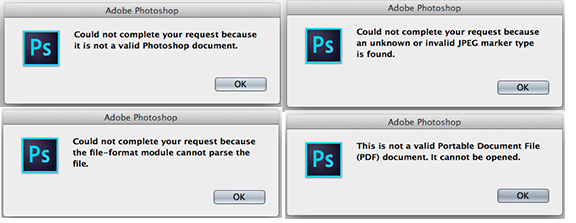 Invalid Jpeg Marker Error When Opening Images In Adobe Photoshop