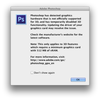 Photoshop Unsupported graphics hardware