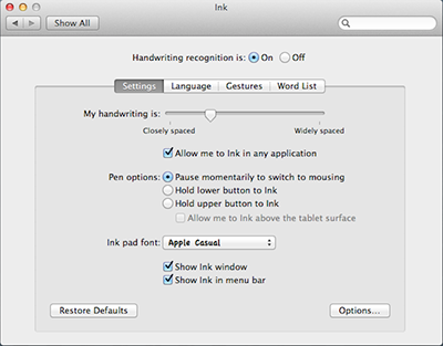 Ink preferences on Mac