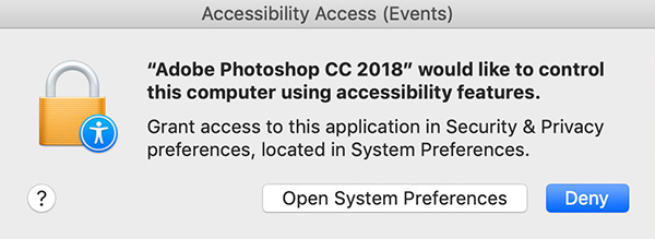 Grant access to Photoshop
