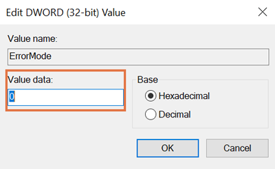The Edit DWORD (32-bit) Value dialog box