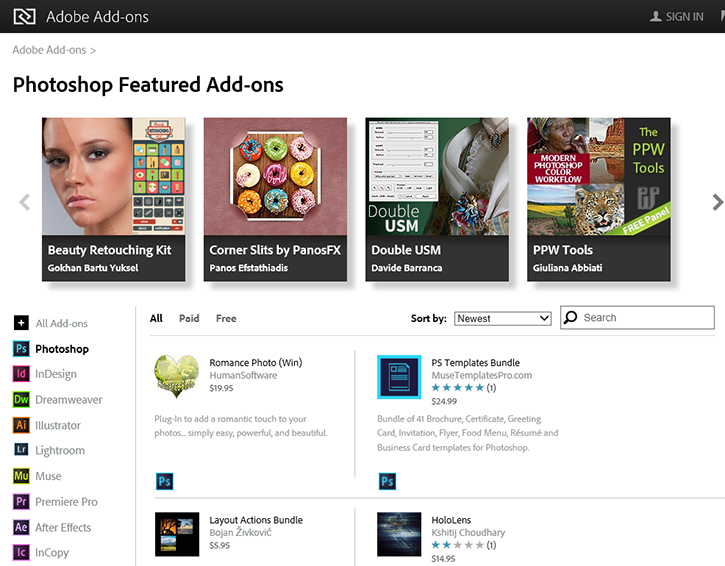 Adobe add-ons page