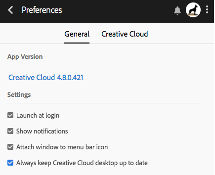 Keep Creative Cloud app up to date