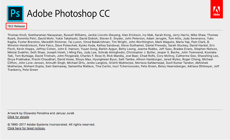 About Photoshop window