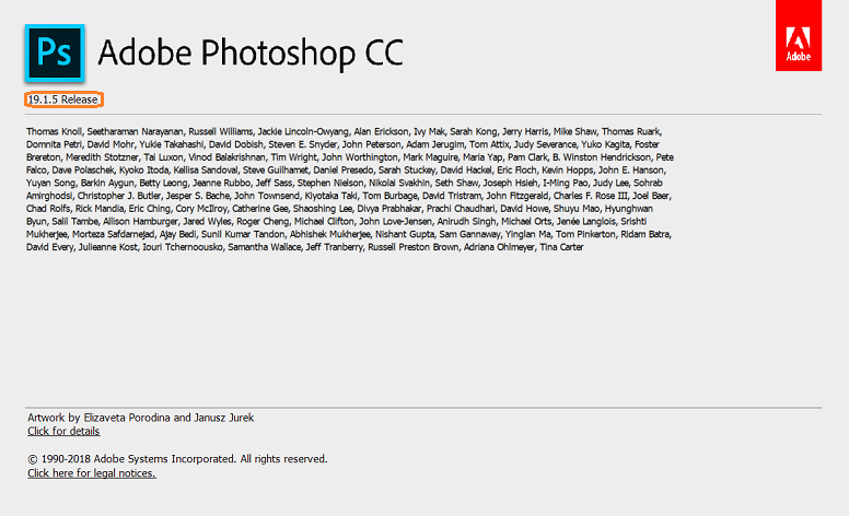 About Photoshop dialog