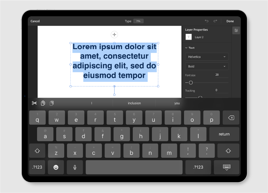 Paragraph text layer in Photoshop on the iPad