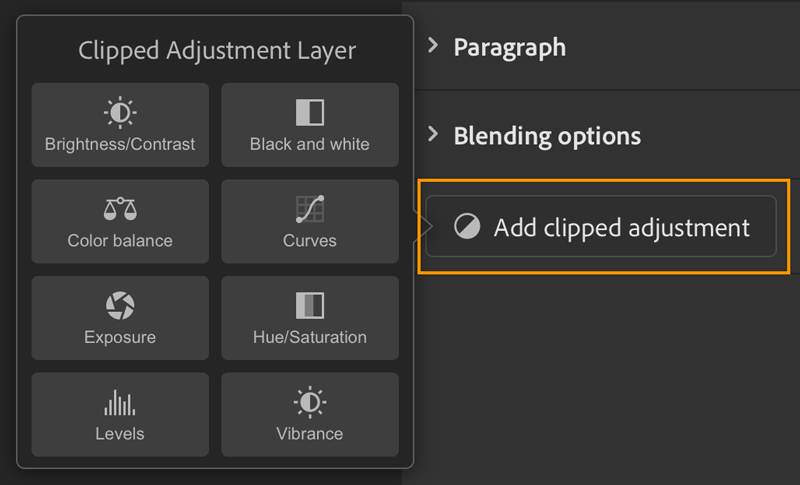 Clipping adjustments options in Photoshop on the iPad