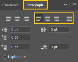 Align your paragraph text with Justify options in the Paragraph panel