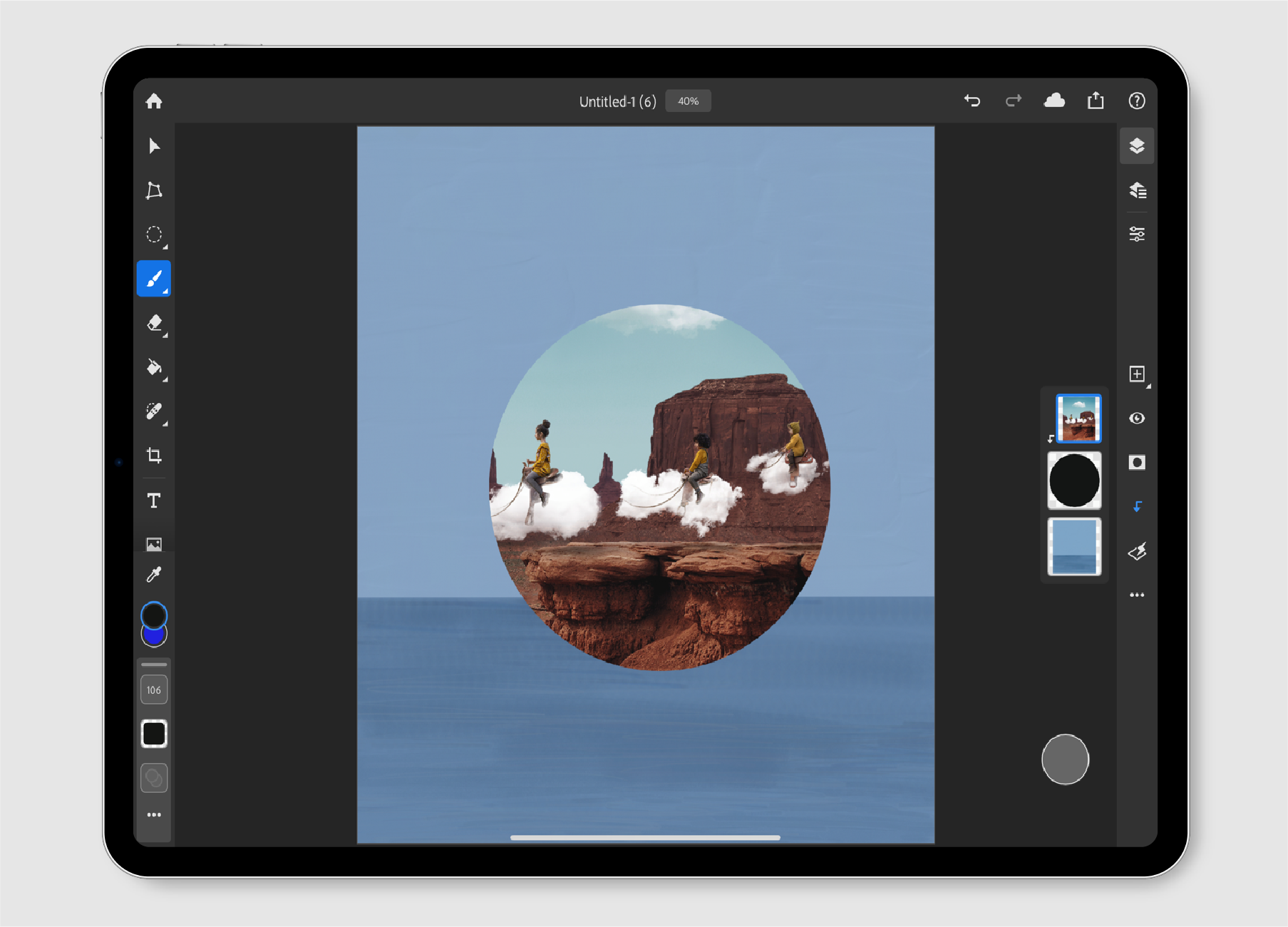 Add a clipping mask in Photoshop on the iPad