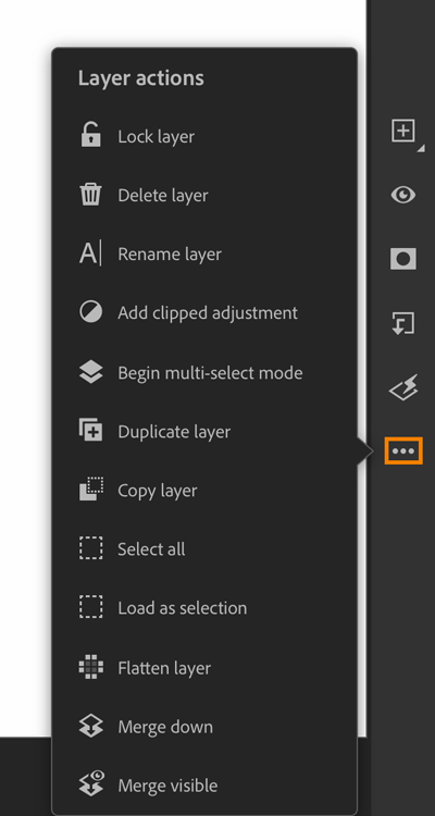 Layer actions panel