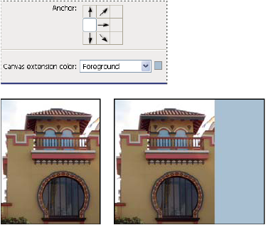 Choose where to anchor the image, and choose a canvas extension color option