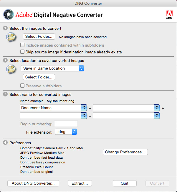 The DNG Converter Dialog Box