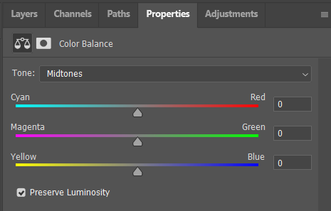 Color balance properties panel