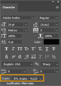 Photoshop Digits type selection