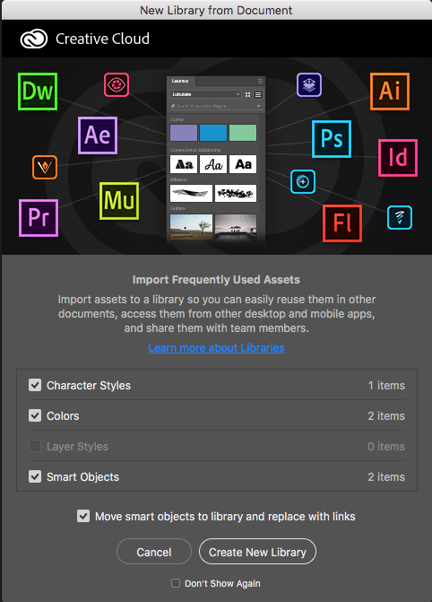 Photoshop Create new library from document