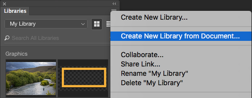 Photoshop Create New Library from Document menu