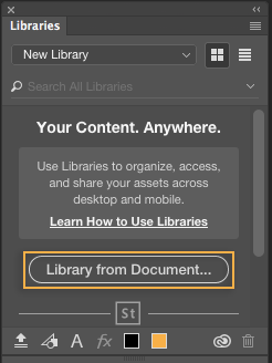 Photoshop Create new library from document in the Libraries panel
