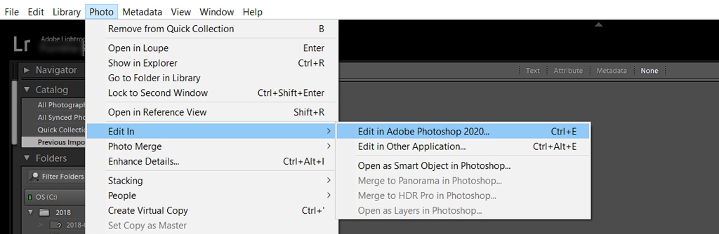 Edit in Photoshop feature in Lightroom Classic