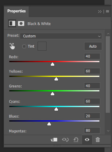 Black & White adjustment layer properties