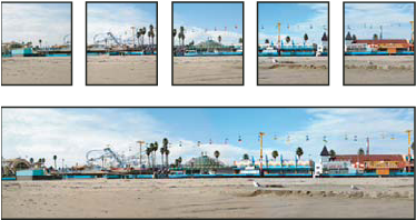 Source images (top), and completed Photomerge composition (bottom)