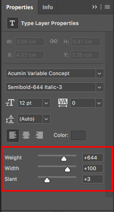 Slider controls for variable fonts