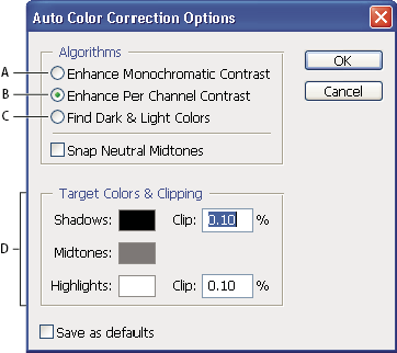 Photoshop Auto Color Correction options