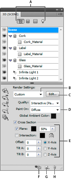 Photoshop 3D panel with Scene options