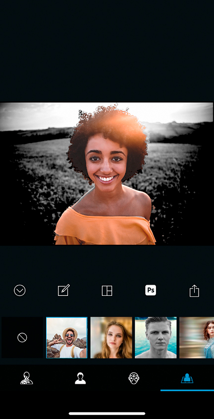 Apply filters to your selfies using the camera within Photoshop Express