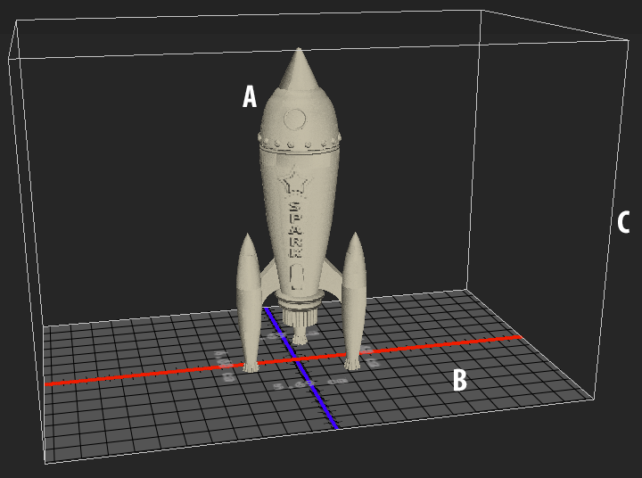Photoshop 3D model of a rocket