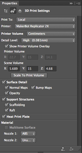 Photoshop 3D Print Settings in Properties panel